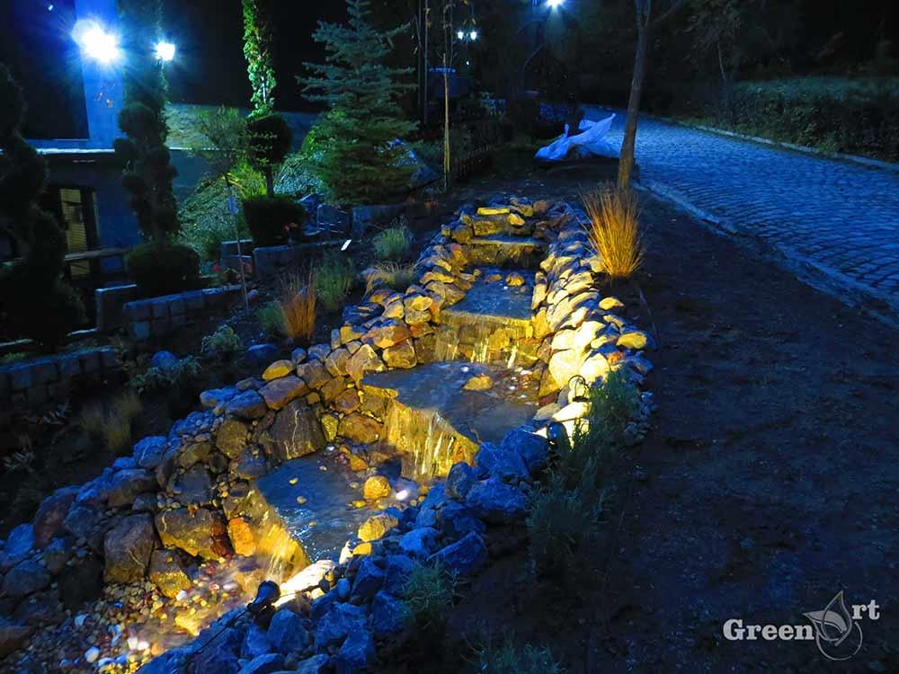 воден ефект с осветление